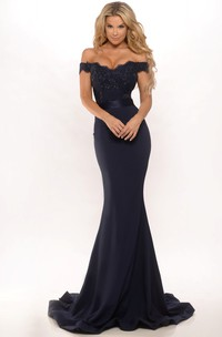 Mermaid Floor-Length Off-The-Shoulder Lace Jersey Prom Dress With Low-V Back And Sweep Train