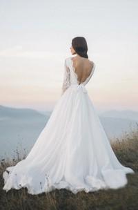 Long Sleeve Chiffon Illusion Wedding Dress With Deep V-back And Court Train
