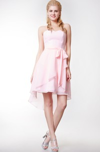 Sweetheart High Low Chiffon Short Dress With Crisscross Skirt