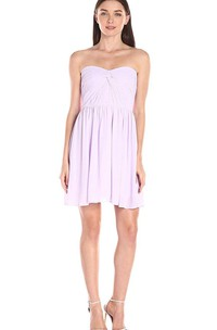 Sweetheart Short Mini A-line Chiffon Dress with Ruches