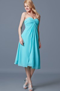 A-line Sweetheart Tea Length Chiffon Dress With Ruching