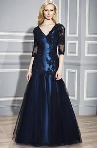 Mermaid Floor-Length Half Sleeve Appliqued V-Neck Satin Formal Dress