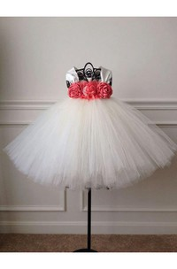 Empire Cap Sleeve Layered Tulle Knee Length Dress With Flowers