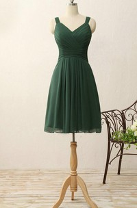 Short V-neck A-line Knee-length Pleats Chiffon Dress