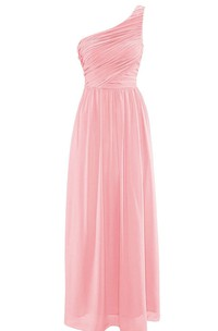 Simple One-shoulder Ruched Chiffon Sheath Gown