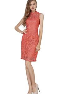 Sleeveless Short Lace Sheath Dress with Illusion Style