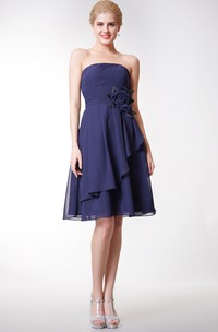 Strapless Knee Length Chiffon Dress With Flower and Side Draping