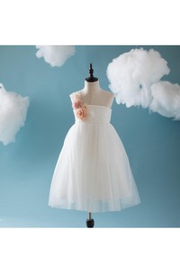 One Shoulder Empire Tulle Ball Gown With Flower and Applique