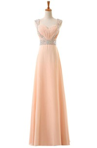 Cap-sleeved A-line Chiffon Dress With Sequined Shoulders