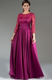 Scoop Neck Lace Top A-Line Pleated Chiffon Long Mother Of The Bride Dress With 3-4 Sleeves
