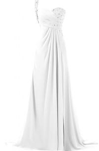 Sweetheart Beaded Ruhced Bodice Long Chiffon Dress