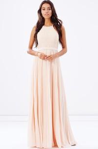 Pleated Sleeveless Spaghetti Chiffon Bridesmaid Dress With Lace And Ribbon