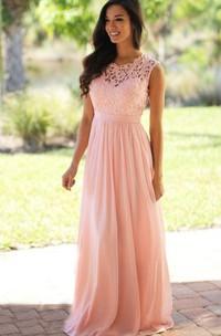 A-line Long High Neck Appliques Chiffon Lace Dress