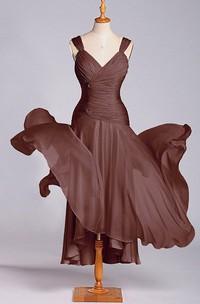 Exquisite A-line Tea-length Ruched Chiffon Dress