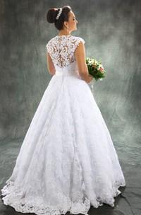 Vintage A Line Detachable Train Sheer Neck Bridal Gown