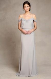 Spaghetti Sleeveless Chiffon Bridesmaid Dress With Low-V Back