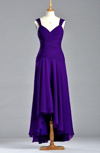 Sleeveless A-line V Neckline Chiffon Gown with Dropping