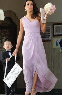 A-line Floor-length One-shoulder Sweetheart Sleeveless Pleats Chiffon Dress