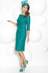 Knee-Length 3-4 Sleeve Bateau Neck Lace Mother Of The Bride Dress With Low-V Back