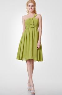One Shoulder A-line Short Chiffon Dress With Pleats