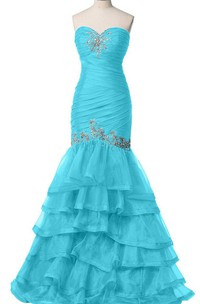 Sweetheart Trumpet Gown With Tiers and Beadings