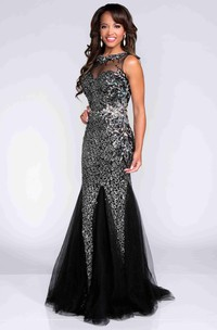 Glimmering Mermaid Sleeveless Prom Dress Featuring See-Through Detail
