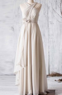 Criss Cross Top V Back A-line Pleated Chiffon Long Dress With Side Drop