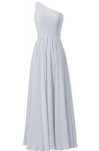 One-shoulder Long Chiffon Dress With Crisscross Ruching