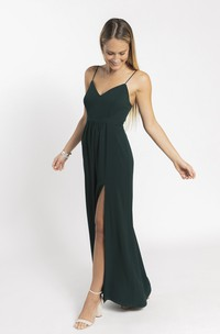 Simple Spaghetti Straps V-neck And Open Back With Front Split Bridesmaid Dress