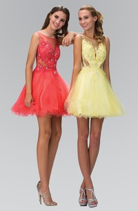 A-Line Short Bateau Sleeveless Low-V Back Dress With Appliques And Ruffles