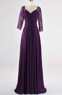 A-line 3-4 Sleeve Sweep Train Lace Dress