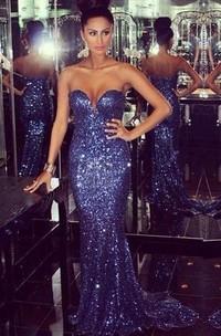 Mermaid Sweetheart Court Train Zipper Sequins Dress