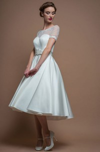 A-Line Tea-Length Short-Sleeve Scoop-Neck Satin Wedding Dress With Illusion