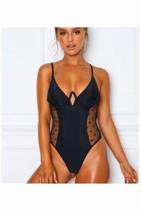Romantic Black Swimsuit With Mesh