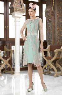 Knee-Length Bateau Neck Appliqued Long Sleeve Satin Mother Of The Bride Dress