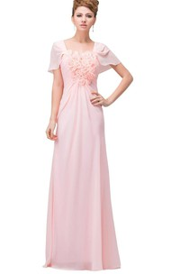 Short-sleeved Chiffon Dress With Floral Bodice