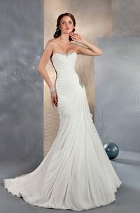 Mermaid Long Sweetheart Sleeveless Corset-Back Chiffon Dress With Beading And Ruching