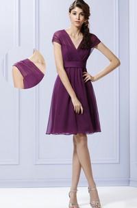 Chiffon Royal Sleeves A-Line Knee-Length Adjustable Dress