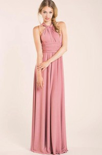 Halter Empire Pleated A-line Jersey Long Dress With Criss-cross Back