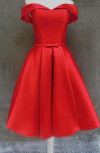 Short Off-the-shoulder Satin Dress With Lace-up Back
