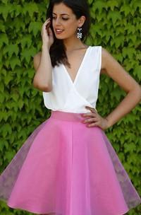 A-line Sleeveless Chiffon Organza V-neck Deep-V Back Short Mini Homecoming Dress