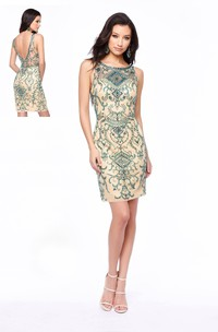 Pencil Short Scoop-Neck Sleeveless Low-V Back Dress With Crystal Detailing
