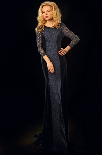 Sheath 3-4-Sleeve Scoop-Neck Long Lace Prom Dress