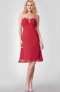 Beaded Sweetheart Empire Waist Short Chiffon Dress