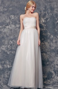 Charming Backless Sweetheart A-line Tulle Dress With Sash