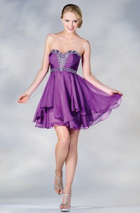 A-Line Short Sweetheart Sleeveless Chiffon Dress With Beading And Draping