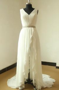 Chiffon Lace Weddig Dress With Beading Sash Ribbon