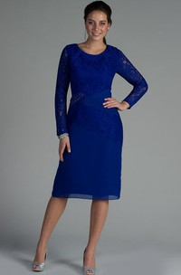 Scoop Neck Lace Long Sleeve Chiffon Knee Length Mother Of The Bride Dress With Beadings