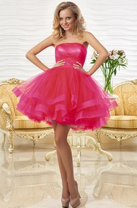 A Line Strapless Ruched Short Mini Sleeveless Tulle Prom Dress With Tiers