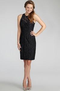 Lace Jewel-Neck Elegant Dress With Keyhole Back
